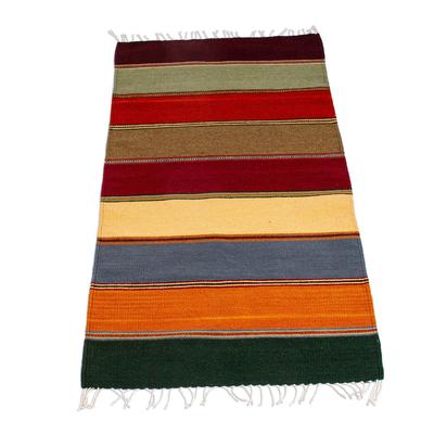 Zapotec wool rug, 'Oaxaca Rainbow' (2.5x4.5) - Handwoven Zapotec Wool Rug in Colorful Stripes (2.5x4.5)