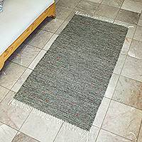 Zapotec wool rug, 'Subtle Grey' (2.5x5)