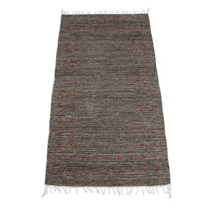 Zapotec wool rug, 'Subtle Grey' (2.5x5) - Handwoven Zapotec Grey Wool Rug with Russet Accents (2.5x5)