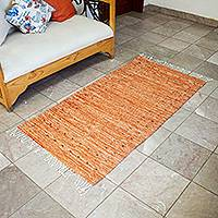 Zapotec wool rug, 'Subtle Russet Red' (2.5x6) - Handwoven Zapotec Wool Rug in Russet Red (2.5x6)