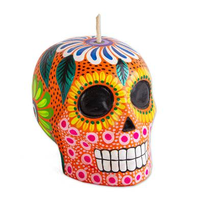 Hand Painted Mexican Day of the Dead Skull Candle