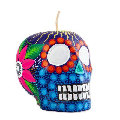 Hand Painted Mexican Day of the Dead Purple Skull Candle