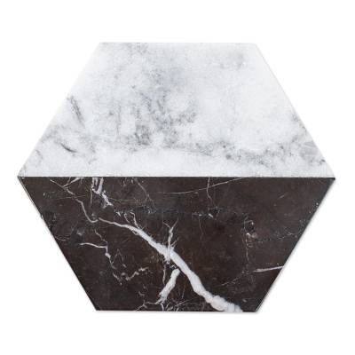 Marble cheese board, 'Opposites Attract' - Artisan Crafted Marble Cheese Board in Black and White