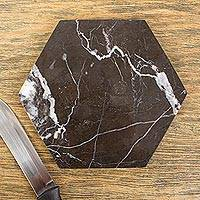 Marble cheese board, 'Hexagon in Black' - Black Marble Cheese or Chopping Board from Mexico