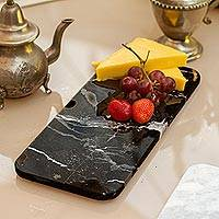 Marble cheese board, 'Elegant Veins' - Black and White Marble Cheese Board from Mexico