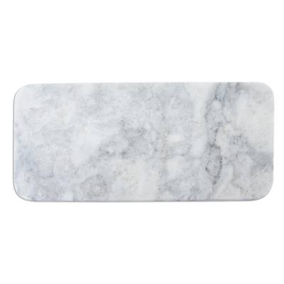 Marble cheese board, 'Elegant White' - White and Grey Marble Small Cheese Board