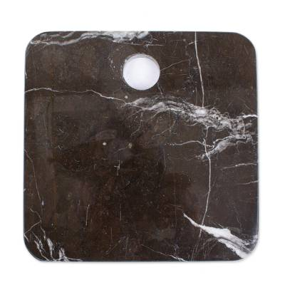 Marble cheese board, 'Plateau in Black' - Square Black Marble Cheese or Chopping Board