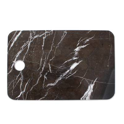 Marble cheese board, 'Mesa in Black' - Black Marble Chopping or Cheese Board from Mexico