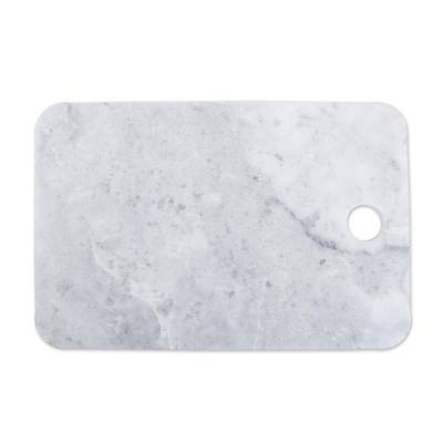 Marble cheese board, 'Mesa in White' - White and Grey Marble Cutting Board Handmade in Mexico