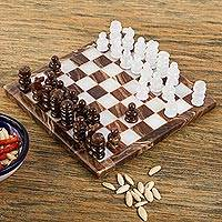 Onyx mini chess set, 'Chocolate and Milk' - Brown and White Onyx Mini Chess Set Handcrafted in Mexico