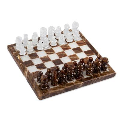 Brown and White Onyx Mini Chess Set Handcrafted in Mexico
