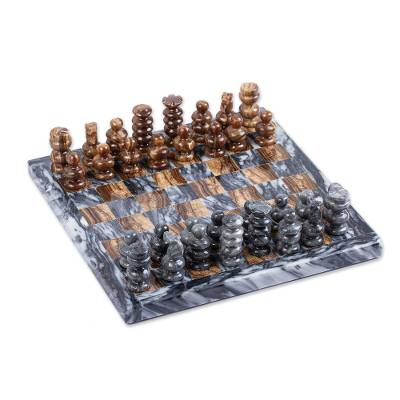 Onyx and Marble Mini Chess Set Handcrafted in Mexico