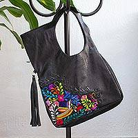 Cotton accent leather handle handbag, 'Hummingbird Garden' - Embroidered Hummingbird Black Leather Handle Handbag