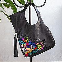 Cotton accent leather handle handbag, 'Hummingbird Garden'