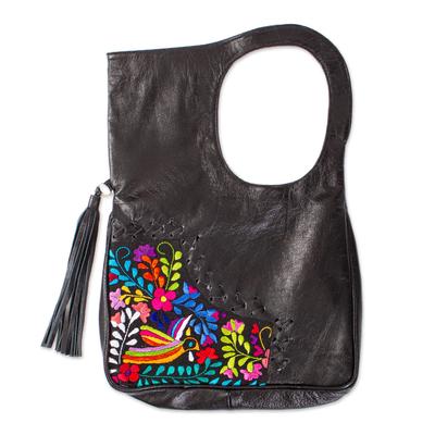 Cotton accent leather handle handbag, 'Hummingbird Garden' - Embroidered Hummingbird Black Leather Handle Handbag