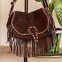 Suede leather shoulder bag, 'Bohemian Brown' - Brown Suede Leather Shoulder Bag with Fringe from Mexico