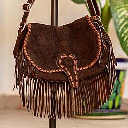 Suede leather shoulder bag, 'Bohemian Brown' - Brown Suede Leather Shoulder Bag with Fringe from Mexico