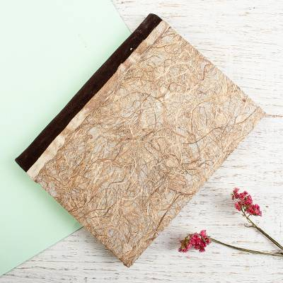 Amate paper journal, 'Natural Way' - Natural Amate Paper Journal with Suede Binding