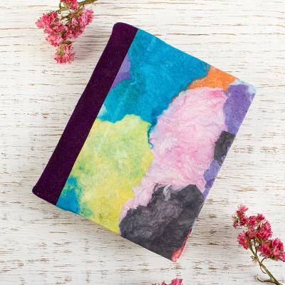Small amate paper journal, 'Color Ways' - Colorful Amate Paper and Suede Small Journal
