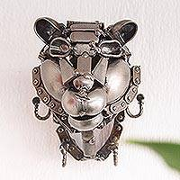 Recycled auto parts key rack, 'Helpful Tiger' - Recycled Metal Tiger Head Key Rack