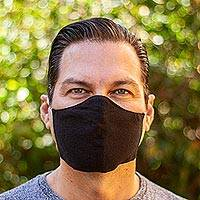 Cotton face masks, 'Zapotec Midnight' (pair) - 2 Handwoven 2-Layer Black Cotton Elastic Headband Face Masks