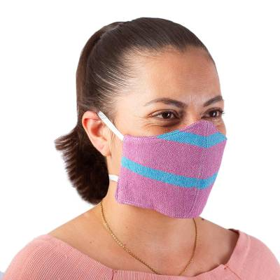 Cotton face masks, 'Zapotec Dawn' (pair) - 2 Handwoven Lilac and Teal Cotton Headband Face Masks