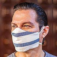 Cotton face masks, 'Quiet Serenity' (pair) - 2 Handwoven Ivory and Blue Cotton Elastic Band Face Masks