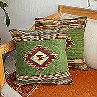 Zapotec wool cushion covers, 'Traditional Diamonds in Green' (pair)