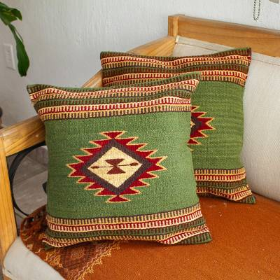Zapotec wool cushion covers, 'Traditional Diamonds in Green' (pair) - Avocado Green Star Motif Wool Cushion Covers (Pair)