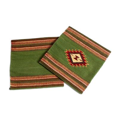 Zapotec wool cushion covers, 'Traditional Diamonds in Green' (pair) - Avocado Green Star Motif Wool Cushion Covers (Pair)