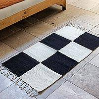 Wool area rug, 'Block Party' - Black and Natural Blocks Wool Area Rug