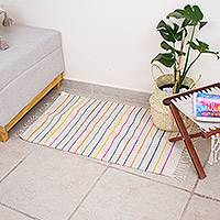 Wool area rug, 'Colorful Stripes' - Fringed Hand Woven Striped Wool Area Rug