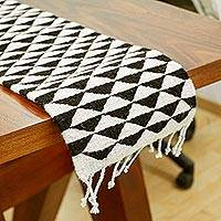 Wool table runner, 'Mountains of Teotitlán' (39 inch) - Black and Ecru Triangle Motif Table Runner (39 Inch)