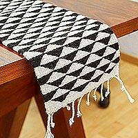 Wool table runner, 'Mountains of Teotitlán' (59 inch)