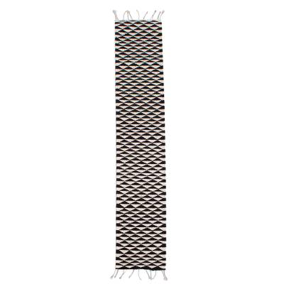 Wool table runner, 'Mountains of Teotitlán' (59 inch) - Black and Ecru Geometric Wool Table Runner (59 Inch)