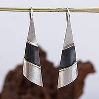 Silver drop earrings, 'Modern Pyramid' - Matte Fine Silver Signed Modern Drop Earrings