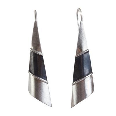 Silver drop earrings, 'Modern Pyramid' - Matte Fine Silver Signed Modern Drop Earrings