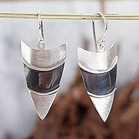 Silver dangle earrings, 'Arrowhead' - Matte Fine Silver Signed Geometric Dangle Earrings