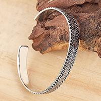 Silver cuff bracelet, 'Moorish Mexico' (6 inch) - Handcrafted Signed Fine Silver Cuff Bracelet (6 Inch)