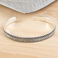 Men's silver cuff bracelet, 'Moorish Mexico'