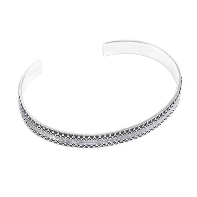Men's silver cuff bracelet, 'Moorish Mexico' - Men's Handcrafted Signed Fine Silver Cuff Bracelet (6.5 Inch