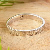 Unisex silver band ring, 'Subtle Texture' - Slender Textured 950 Silver Band Ring for Men and Women