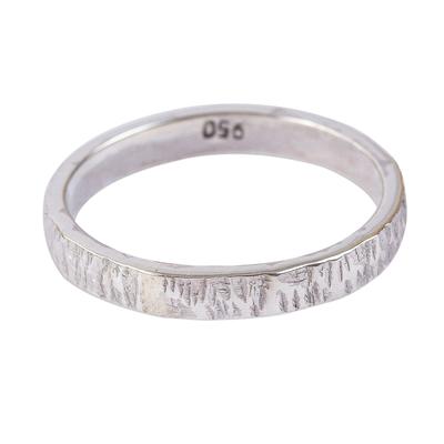 Unisex silver band ring, 'Subtle Texture' - Slender Textured 950 Silver Band Ring for Men and Women