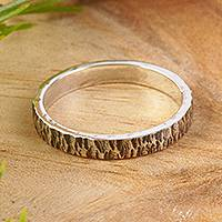 Unisex silver band ring, 'Rough and Smooth'