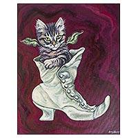'Cat with Boot' - Original Signed Surrealist Cat Painting