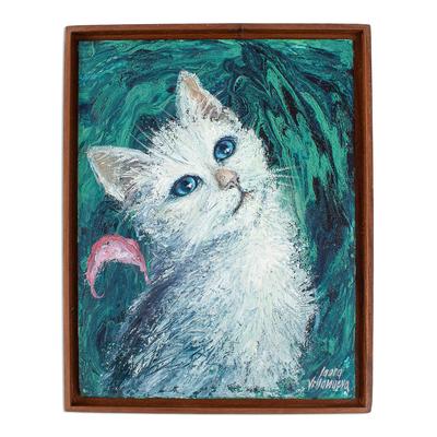 Framed Original Painting of White Cat