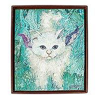 'Dreamy Cat II' - Original Signed Framed Cat Painting from Mexico