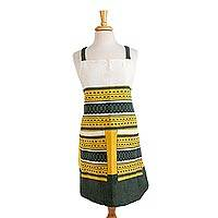 Cotton apron, 'Green Country Kitchen' - Handwoven Green and Yellow Cotton Apron with Pockets