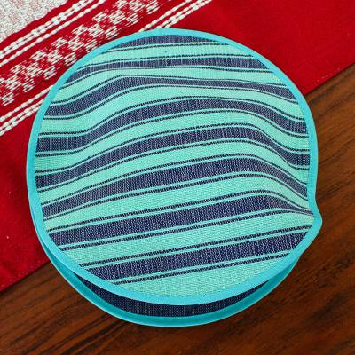 Cotton tortilla warmer, 'Cool Harmony' - Backstrap Handwoven Mint and Blue Cotton Tortilla Warmer