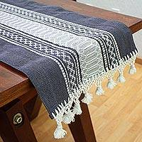 Cotton table runner, 'Zapotec Graphite' - Handwoven Grey and Ivory Cotton Zapotec Table Runner